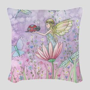A Friendly Encounter Fairy and Woven Throw Pillow