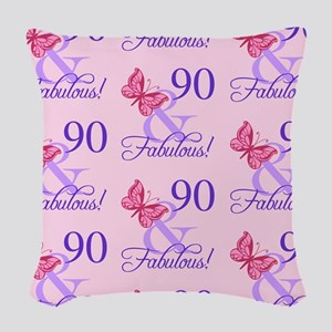 90 & Fabulous Birthday Woven Throw Pillow