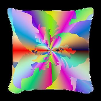 Fractal Fire Flower Woven Throw Pillow
