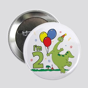 Dino 2nd Birthday Button