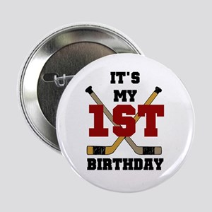 Hockey 1st Birthday Button