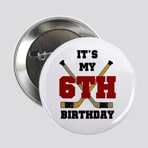 Hockey 6th Birthday Button