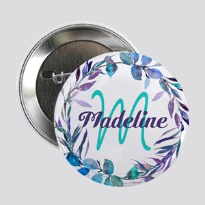 "Purple Teal Wreath Monogram 2.25"" Button"