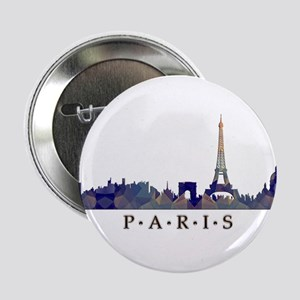 "Mosaic Skyline of Paris France 2.25"" Button"