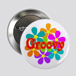 "Fun Groovy Flowers 2.25"" Button"