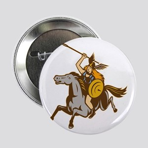 "Valkyrie Riding Horse Retro 2.25"" Button"