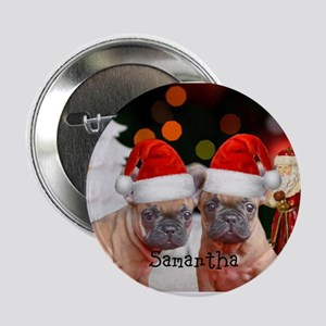 "Christmas French Bulldogs 2.25"" Button"
