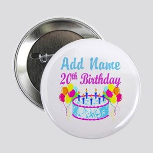 "HAPPY 20TH BIRTHDAY 2.25"" Button"