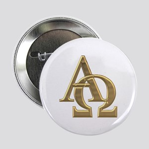 """3-D"" Golden Alpha and Omega Symbol 2.25"" Button"