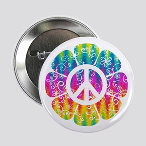 "Colorful Peace Flower 2.25"" Button"