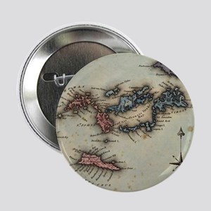 "Vintage Map of The Virgin Islands (18 2.25"" Button"