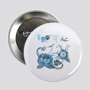 """Watercolor Blue Peony and Swallows 2.25"""" Button"""