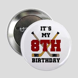 Hockey 8th Birthday Button