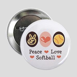 "Peace Love Softball Team 2.25"" Button"