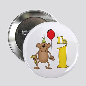 "Funny Monkey First Birthday 2.25"" Button"