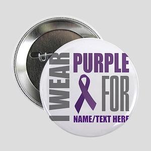 "Purple Ribbon Awareness Customized 2.25"" Button"