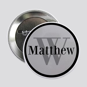 """Gray Name and Initial Monogram 2.25"""" Button"""