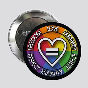 Human Rights 2.25 inch Rainbow Button