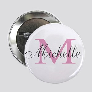 """Personalized pink monogram 2.25"""" Button"""