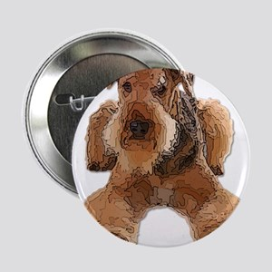 """Heavily Deconstructed Vector Airedale 2.25"""" Button"""