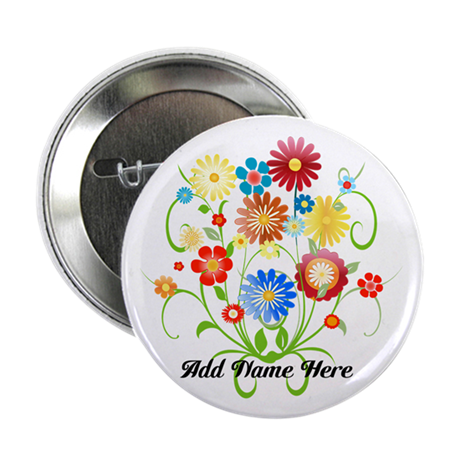 """Personalized floral light 2.25"""" Button"""