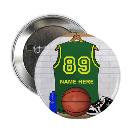 """Personalized Basketball Green 2.25"""" Button"""