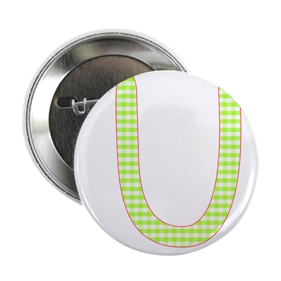 Lime and White Gingham Check Initial U