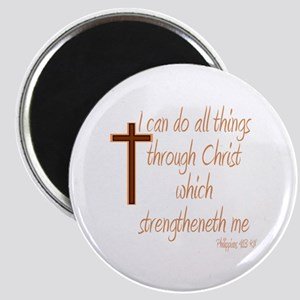 Philippians 4 13 Brown Cross Magnets