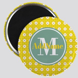 Yellow Floral Pattern Mint Monogram Magnet