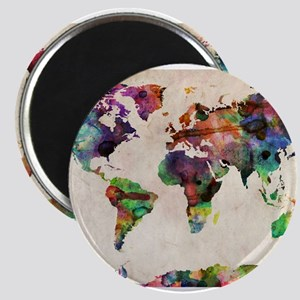 World Map Urban Watercolor 14x10 Magnets