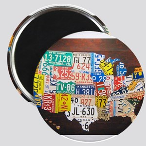 United States License Plate Map Magnets