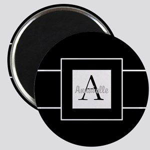 Black White Monogram Personalized Magnets