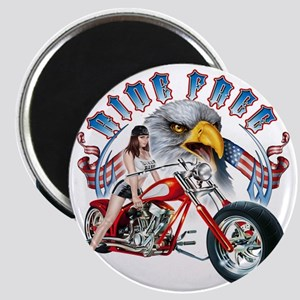 CP1011-Ride Free Babe And Eagle Magnet