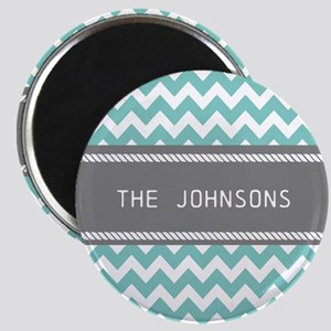 Teal Blue and Gray Modern Chevron Personali Magnet