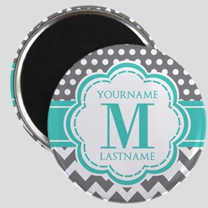 Personalized Polka Dots Chevron Gray Magnet