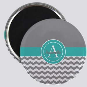 Gray Teal Chevron Magnets