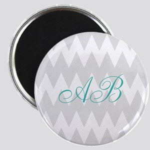Gray Chevron Teal Monogram Magnets