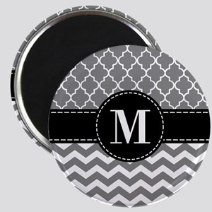 Black Gray Chevron Monogram Magnet