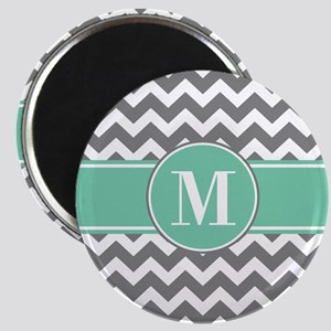 Gray and Teal Chevron Monogram Magnet