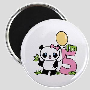 Lil' Panda Girl 5th Birthday Magnet
