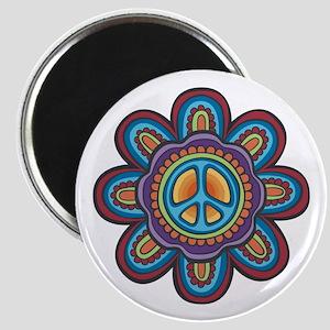 Hippie Peace Flower Magnet