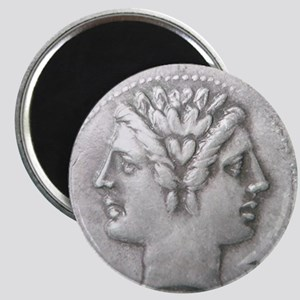 Ancient Coin Showing Janus Round Charm Magnets