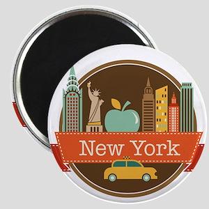 New York Big Apple Badge Magnets