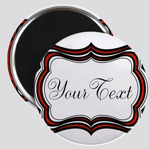 Personalizable Red Black White Magnets