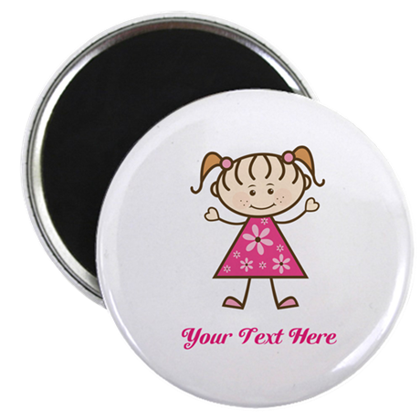 Pink Stick Figure Girl Magnet