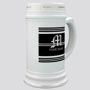 Black and White Stripe Monogram Stein