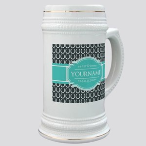 Personalized Horseshoes Pattern - Aqua Navy Stein