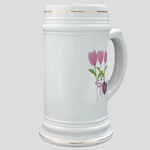 Pink Tulip Monogram Stein