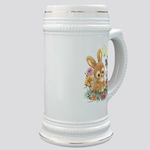 Cute Easter Bunny With Flowers And Eggs Stein