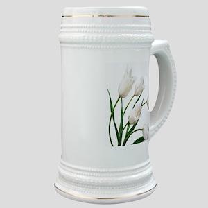 Snow White Tulip Flowers Stein